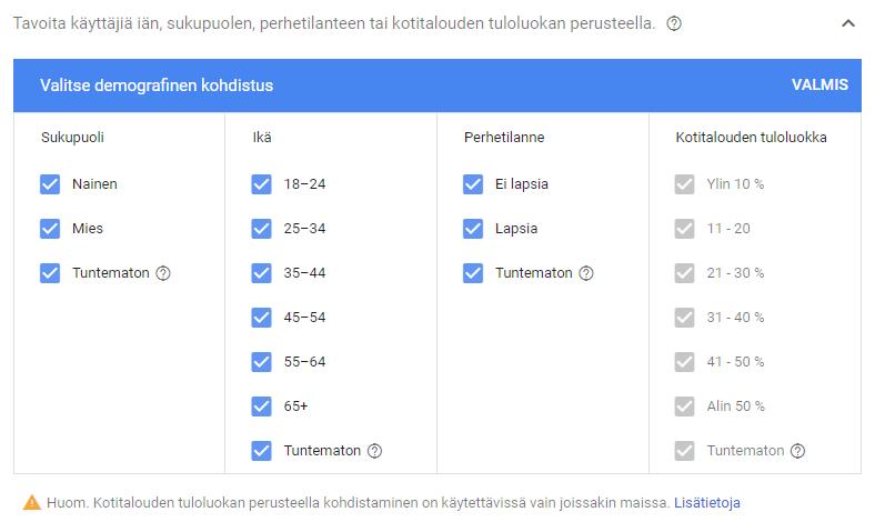 Google Ads Display yleisöt